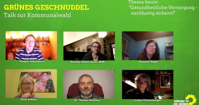 Podiumsteilnehmende beim zweiten Grünen Geschnuddel zum Thema Gesundheitsversorgung