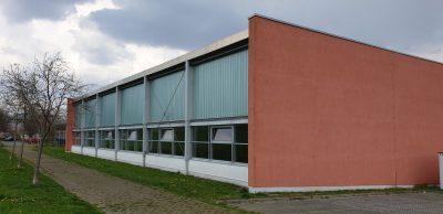Langenberg Sporthalle: Ansicht von der Rückseite